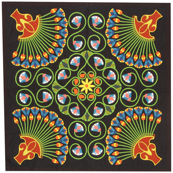 Lotus Design Wall Hanging by Mohy El-Dien, Tentmakers of Cairo (Egypt)