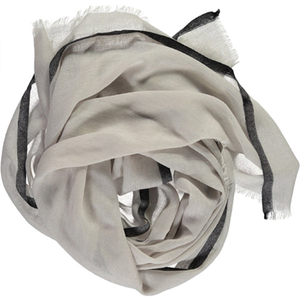 Khadi & Co, Scarf, Light Grey with Black Trim