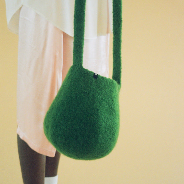 Grass Green Long Strap Smallest Bucket Bag by Cecilie Telle (NORWAY)
