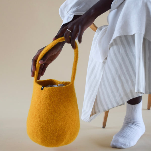 Burnt Amber Felted Small Bucket Bag by Cecilie Telle (NORWAY)