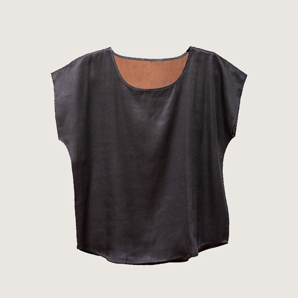 T-Shirt Mud Silk by Liang Zhu, Noir Handmade (China)