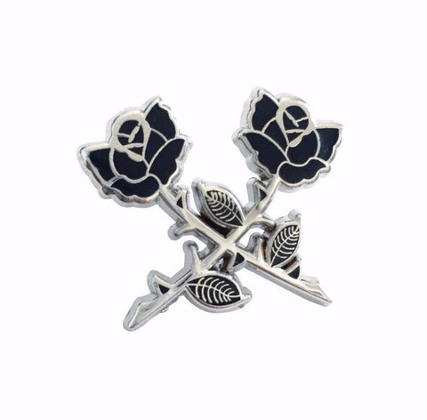 Crossed Roses Pin (Silver)