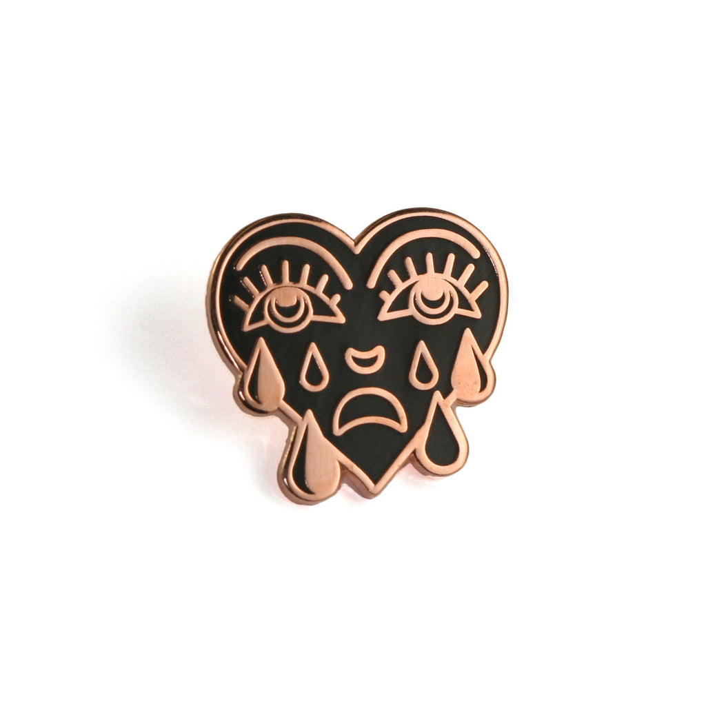 Rose Gold Crying Heart Pin