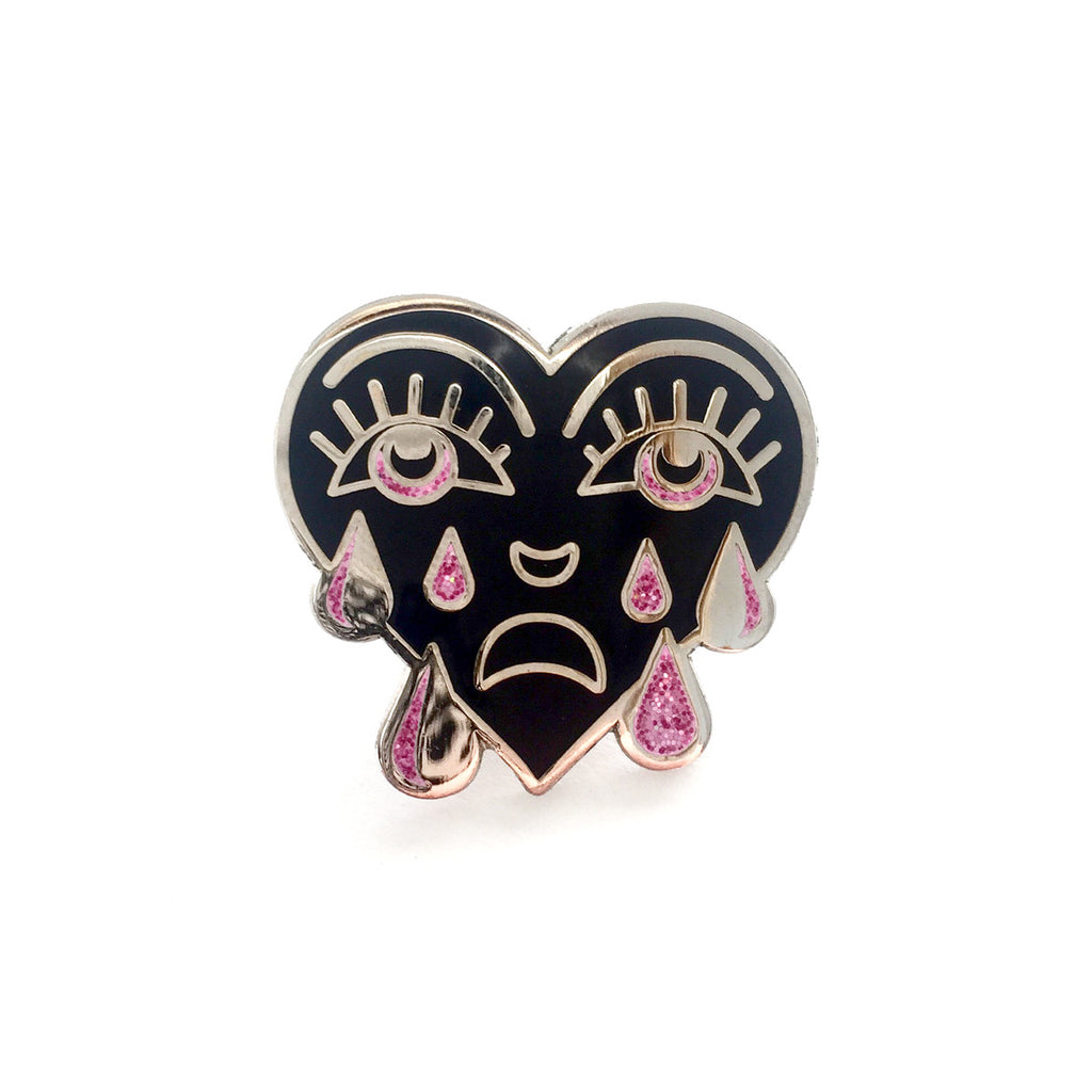 Pink Glitter Crying Heart Pin