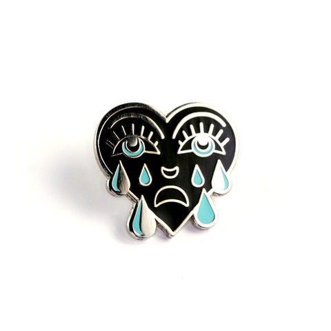 Teal Crying Heart Pin