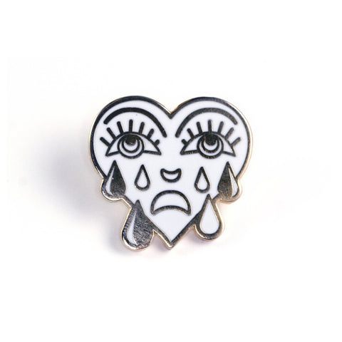 White Crying Heart Pin
