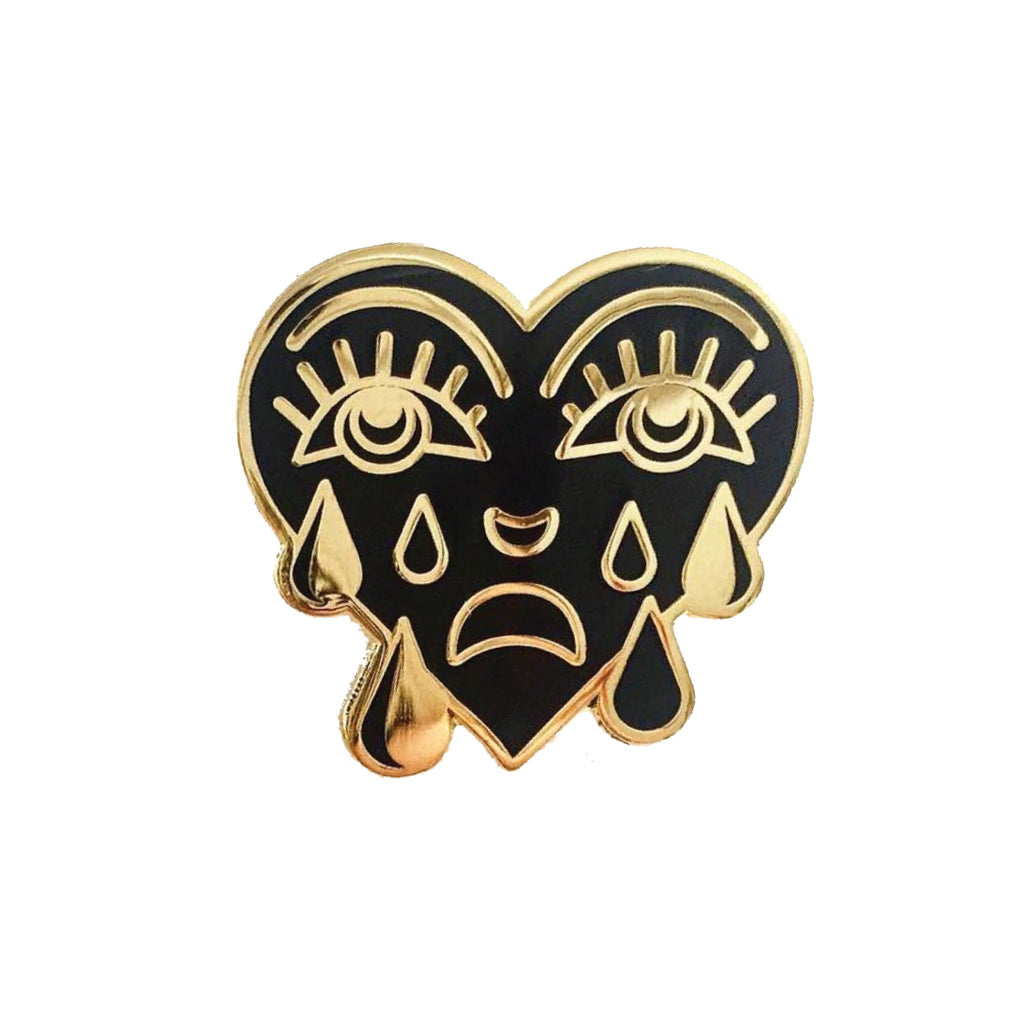 Gold and Black Crying Heart Pin