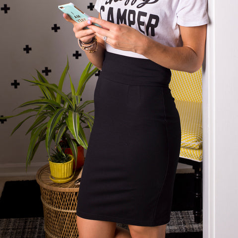 Perfect Pencil Skirt in Black Ponte