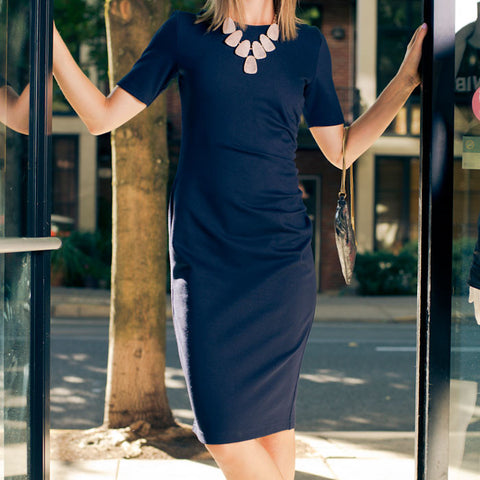 Megan Navy Midi Dress