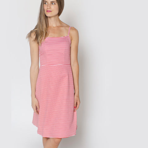 The Eva backless dress in red and white striped cotton by Tiffany Bean