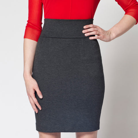 Perfect Pencil Skirt in Charcoal Grey Ponte