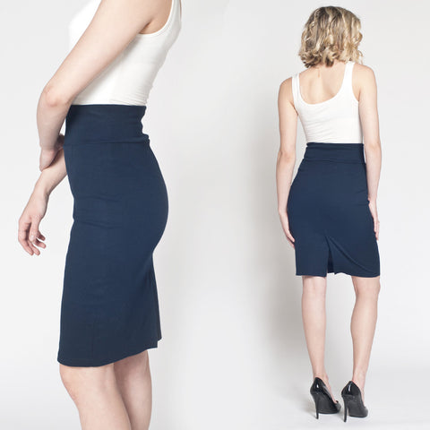 Perfect Pencil Skirt in Navy Ponte