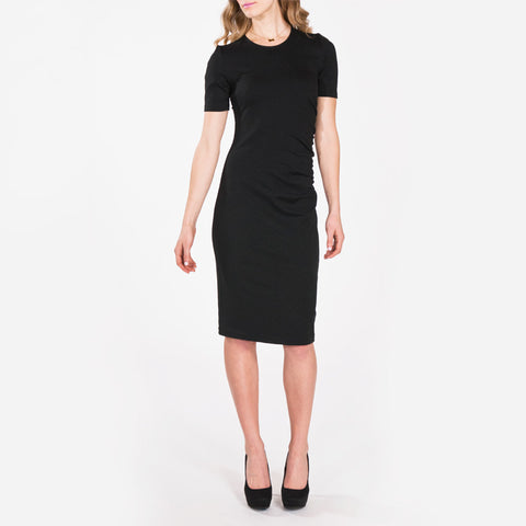 Megan Black Ponte Midi Dress