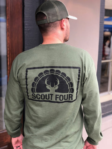 Scout Four Outdoors army green deer and turkey stamped classic logo tee