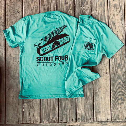 Scout Four Outdoors Turkey Box Call Short Sleeve Pocket Tee - Green