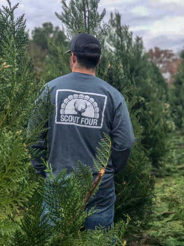 Scout Four Outdoors Stamp Logo Long Sleeve Tee - Heather Grey