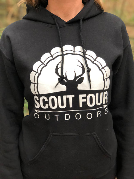 Scout Four Outdoors hoodie deer and turkey logo