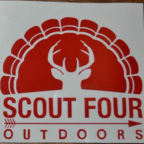 Scout Four Outdoors Classic Deer and Turkey Red Decal