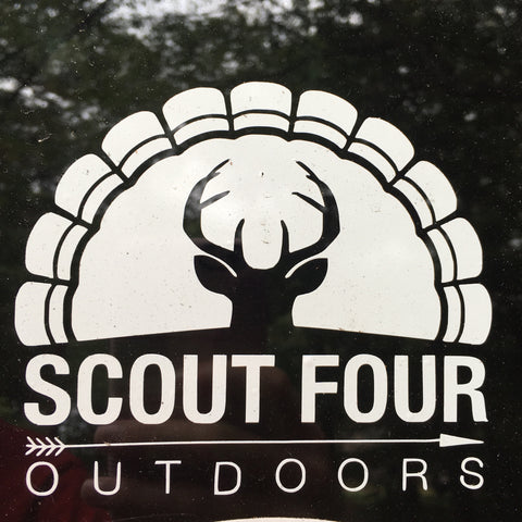 Scout Four Outdoors Classic Deer and Turkey White Decal