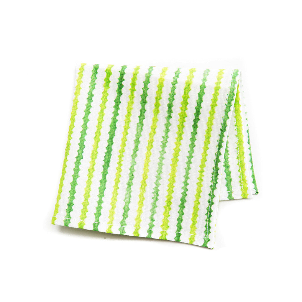 Green Stripes Cocktail Napkin