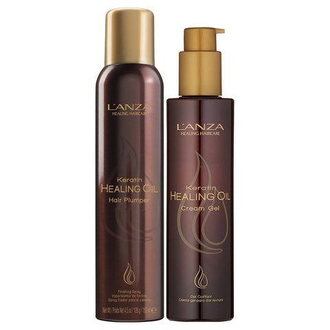 Lanza Keratin Healing Oil Hair Plumper & Cream Gel Duo (set) ($30 value)