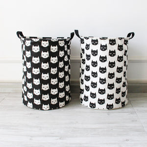 Monochrome Cats Laundry Basket