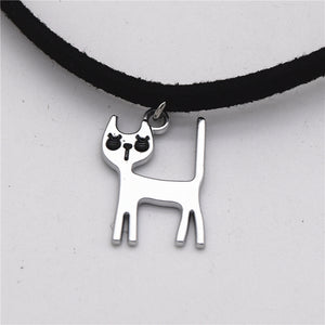 Silver Cat Choker Necklace