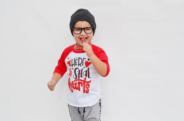 Here to steal hearts - kids valentine's day shirt