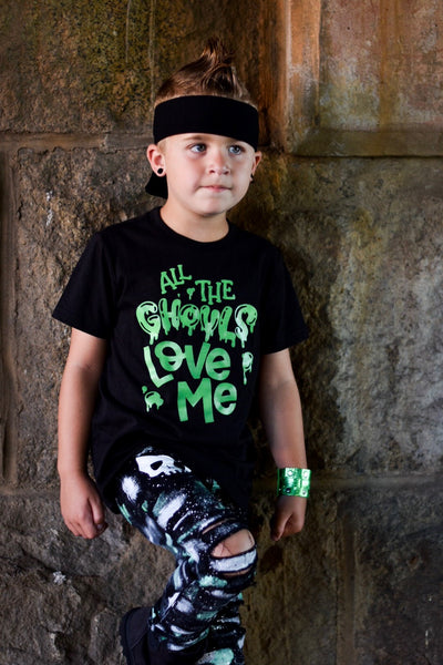 All The Ghouls Love Me Boys Halloween Shirt - Bright Green