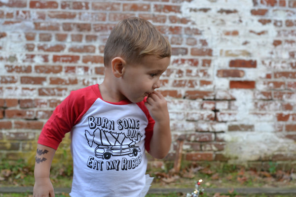 Christmas Vacation Kids Raglan - Burn some dust eat my rubber