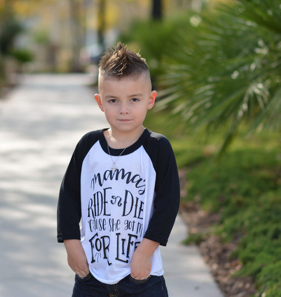Mamas ride or dies kids raglan tee - hipster boys clothes