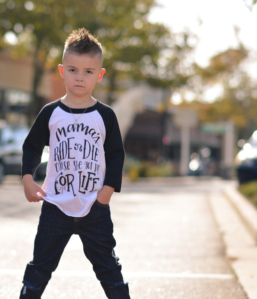 Mamas ride or die kids raglan tee