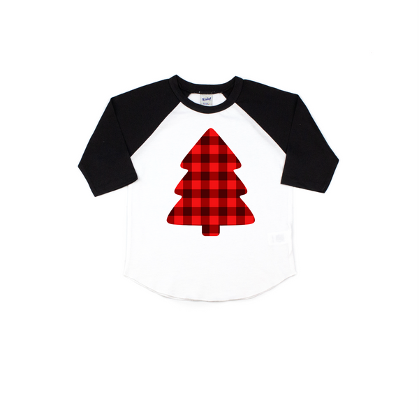 Plaid Christmas tree tee - Kids Christmas tree shirt