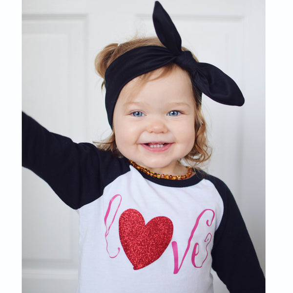 Cute Toddler Girl Valentine Outfit - Love Shirt