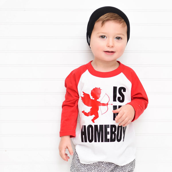 boy valentines outfit, cupid shirt, v-day shirt, cupid is my homeboy, girl valentines, funny valentines shirt, trendy, unisex, Red raglan, baseball tee