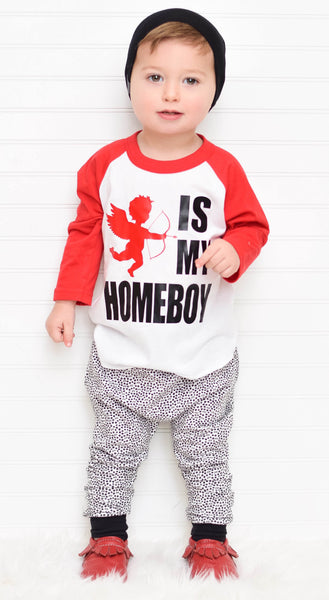 Cupid is my homeboy - red sleeve raglan