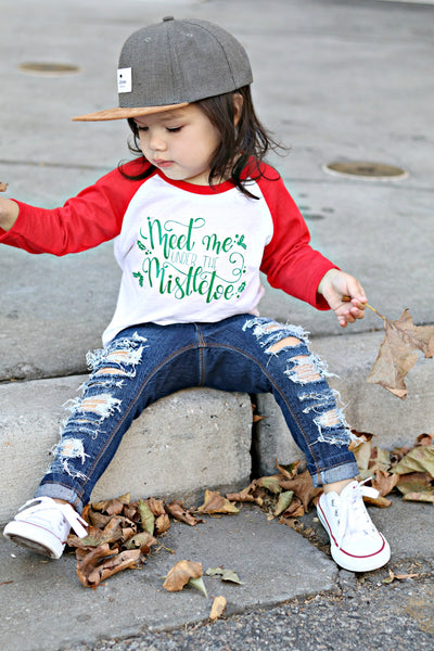 Meet me under the mistletoe kids Christmas shirt.