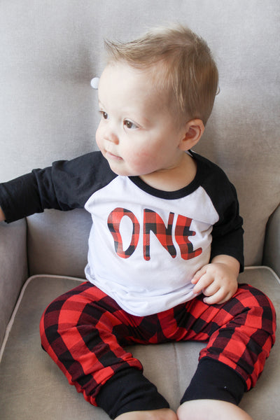 Lumberjack Birthday First Buffalo Plaid Party ONE Toddler Boy Baby Shirt Outfit Our 5 Loves