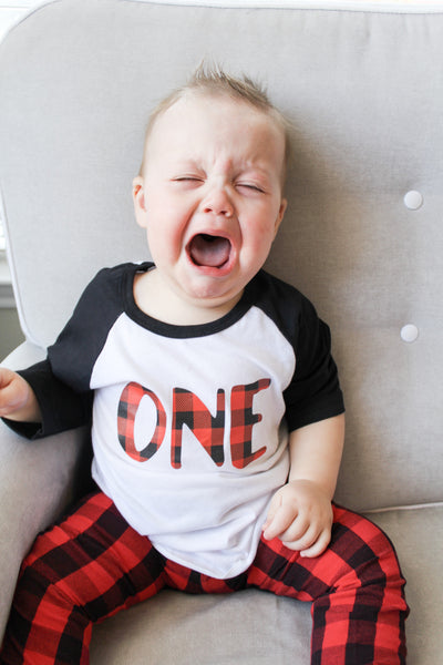 lumberjack birthday, lumberjack first birthday, buffalo plaid party, ONE, toddler boy, baby boy, plaid birthday shirt, birthday outfit