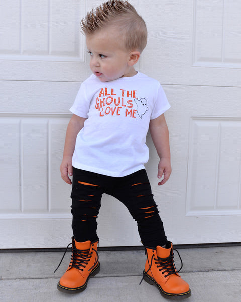 All the Ghouls Love Me Cute Ghost Shirt for Boy - White Color