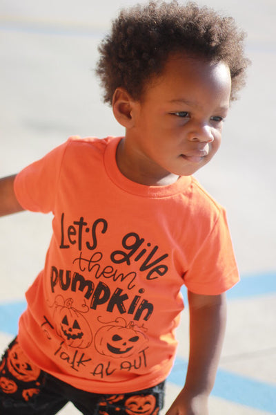Let's give them  pumpkin to talk about - Pumpkin Halloween Shirt for Kids