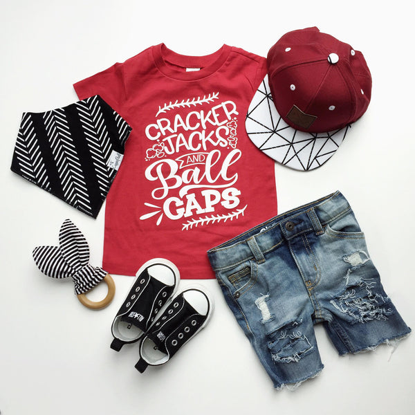 Cracker jacks and ball caps tee