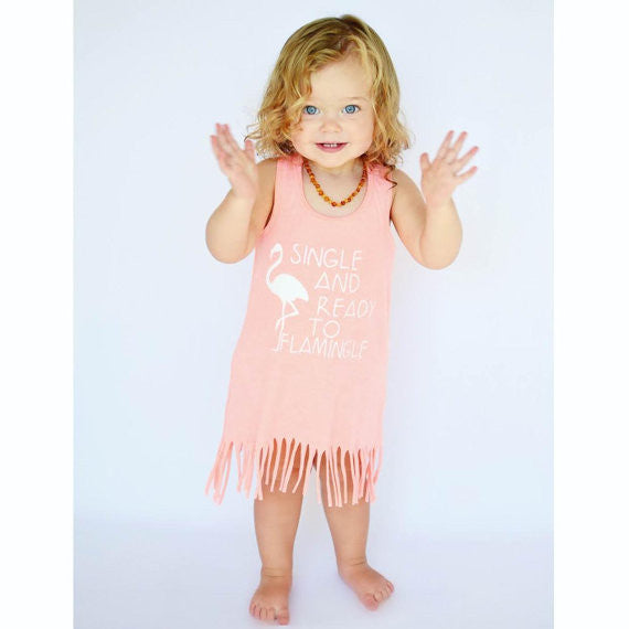 Single and ready to flamingle fringe dress