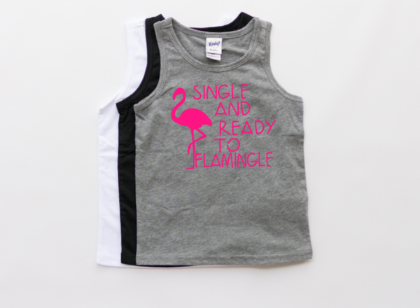 boys flamingo shirt, toddler flamingo tank, neon summer tank, toddler tank, single and ready to flamingle