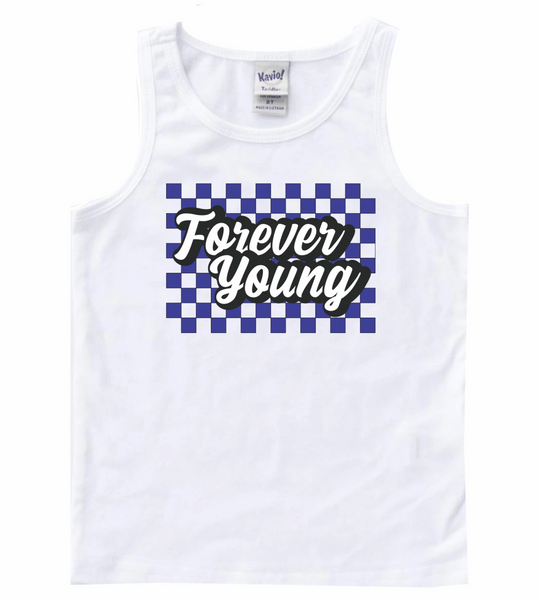 Forever young - blue checkered kids tee