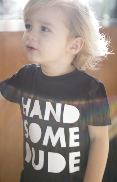 Handsome dude tee, trendy kids clothes, monochrome boy clothes, baby boy clothes, toddler boy graphic tees