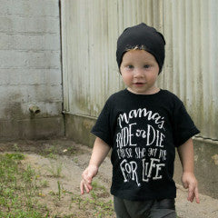 Mama's Ride or Die Tee, mama's boy shirt, trendy boy clothes, cute boy shirts