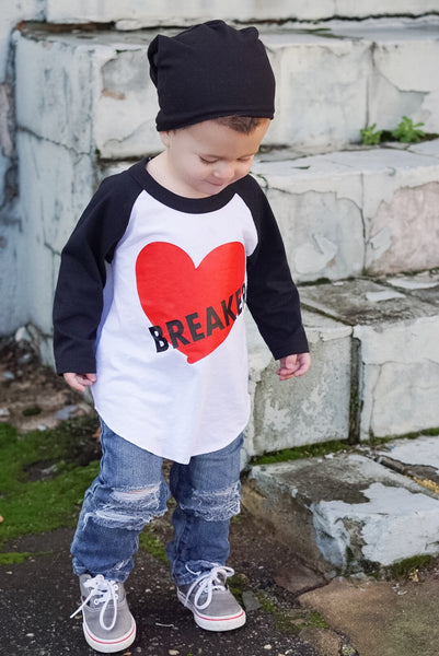 Boys Valentine Heartbreaker Shirt - red heart and black sleeve