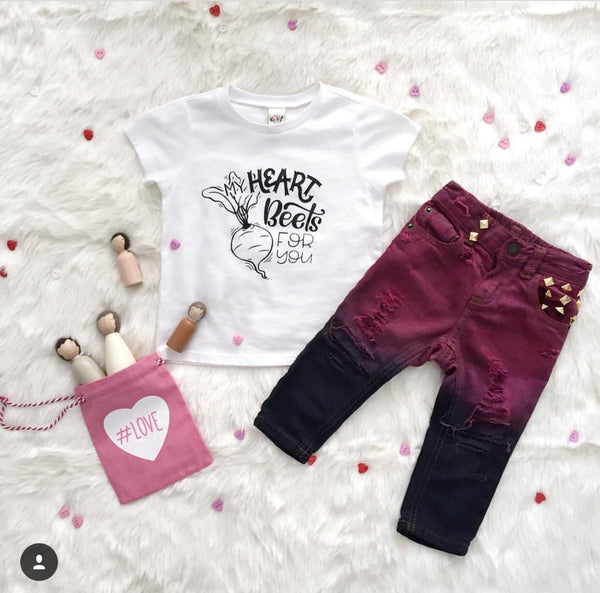 Funny valentines day tee for kids - my heart beets for you