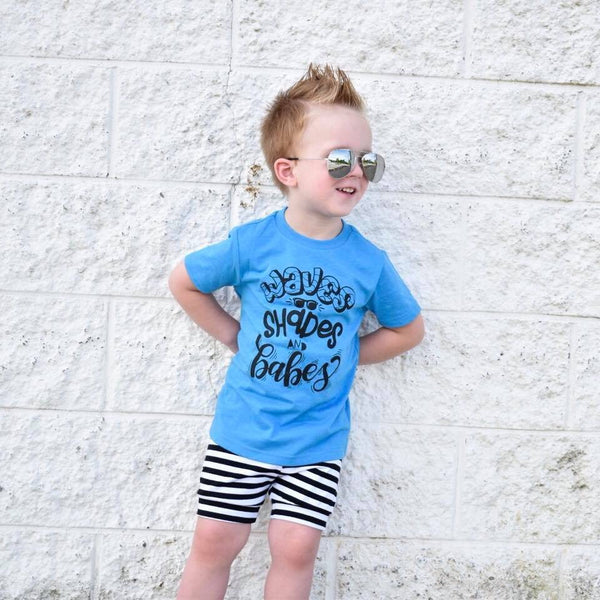 741ab6305833 Kids graphic tee - Waves shades and babes – Our 5 Loves